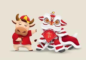 feliz ano novo chinês 2021 design boi zodíaco vetor
