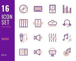 conjunto de 16 ícones de música, estilo de linha fina