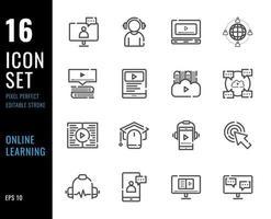 conjunto de 16 ícones de aprendizagem online, estilo linha fina