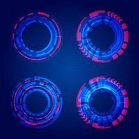 conjunto de elementos de círculos azuis de tecnologia hud circles em fundo de grade azul escuro
