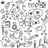 conjunto de elementos de mão desenhada doodle linhas pretas dia dos namorados, casamento, amor e corações de eventos românticos isolados no fundo branco.