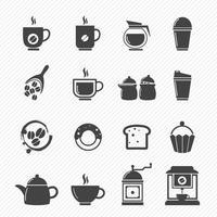 ícones de café e chá isolados no fundo branco vetor