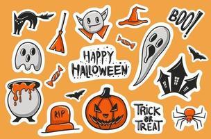 coleção colorida de adesivos de halloween desenhados à mão vetor