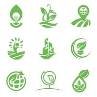 modelo de design de logotipo eco para conjunto de negócios e empresa vetor