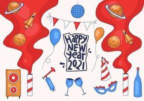 elementos de festa de ano novo desenhados à mão colorida
