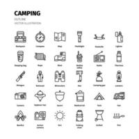 conjunto de ícones de acampamento. conjunto de ícones de contorno de acampamento. ícone para site, aplicativo, impressão, design de cartaz, etc. vetor
