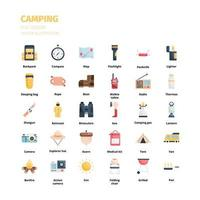 conjunto de ícones de acampamento. camping conjunto de ícones plana. ícone para site, aplicativo, impressão, design de cartaz, etc. vetor