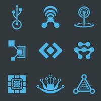 pacote de design de vetor de ícone de logotipo de tecnologia profissional