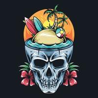 crânio de verão contém prancha de surf, coqueiro e vetor de arte de bola