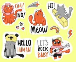 coleção colorida de adesivos de gatos engraçados desenhados à mão