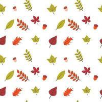 design plano folhas de outono padrão sem emenda vetor