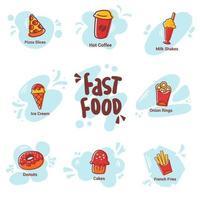 coleção de ícones de fast food vetor