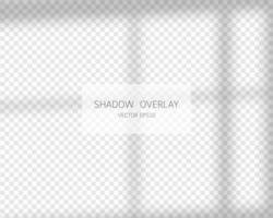 efeito de sobreposição de sombra. sombras naturais da janela isolada em fundo transparente. ilustração vetorial. vetor