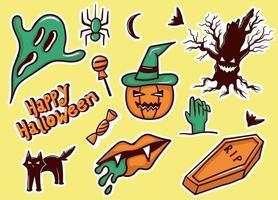 web coleção colorida de adesivos de halloween desenhados à mão vetor