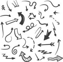 coleção de doodle de setas desenhadas à mão vetor