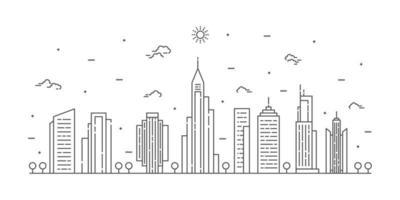 vetor de arte linha paisagem da cidade. paisagem urbana de linha fina com construção, nuvens, sol. ilustração vetorial.
