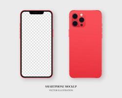 vetor de maquete de smartphone. smartphone vermelho em branco na frente e atrás, isolado em fundo cinza. vetor de maquete isolado. design de modelo. ilustração vetorial realista.