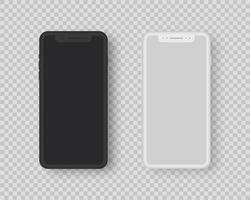 conjunto de maquete realista de smartphone. conjunto de smartphone com tela em branco. ilustração vetorial realista. vetor