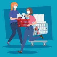 mulheres carregando mantimentos vetor