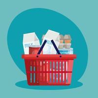 cesta de compras com mantimentos vetor