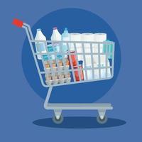 carrinho de compras com mantimentos vetor