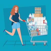 mulher com um carrinho de compras cheio vetor