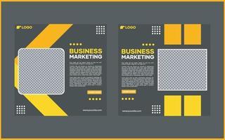 modelo de banner de mídia social do vetor. com linhas pretas e amarelas. adequado para postagens em mídias sociais e publicidade na internet vetor
