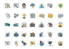 conjunto de ícones de marketing digital seo vetor