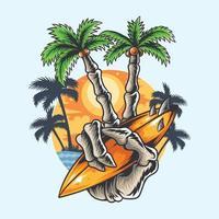 desenho de verão mão crânio coqueiro dedo segurando prancha de surf vetor