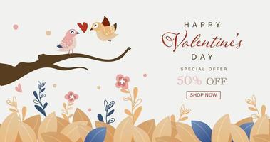 feliz dia dos namorados cartão de pássaros bonitos desenhados à mão vetor