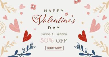 cartão de feliz dia dos namorados com elementos bonitos de coração e flores desenhados à mão vetor