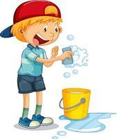 um menino segurando uma esponja de lavar e um balde de água personagem de desenho animado no fundo branco vetor