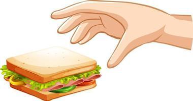 mão tentando pegar um sanduíche no fundo branco vetor