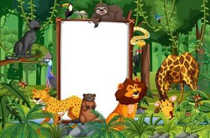 banner em branco na cena da floresta tropical com animais selvagens vetor