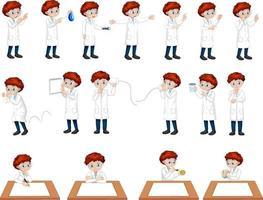 conjunto de um menino cientista em diferentes poses personagem de desenho animado vetor
