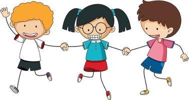crianças felizes de mãos dadas doodle personagem de desenho animado vetor