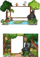 banner vazio com animais selvagens e árvores da floresta tropical em fundo branco vetor