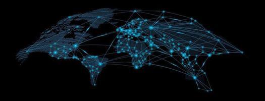 mapa-múndi com curva. rede social global. fundo azul futurista com o planeta Terra. internet e tecnologia fundo geométrico com linhas de ponto de luz. vetor
