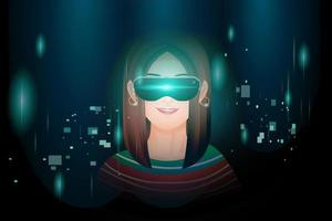 garota usando máquina de realidade virtual. vetor