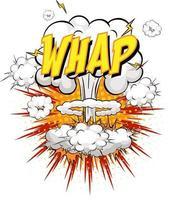 texto whap na explosão de nuvem em quadrinhos isolada no fundo branco vetor