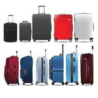 conjunto de bagagem, bagagem em vista lateral e frontal, estilo plano realista de ilustração vetorial. vetor