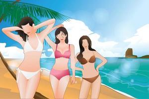 três garotas aproveitam a praia paradisíaca, viagem de férias de verão para ilustração vetorial realista e relaxante. vetor