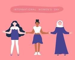 ilustração do dia internacional da mulher com conceito de diversidade. vetor