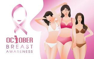 grupo de meninas de biquíni com fita rosa, símbolo da conscientização do câncer de mama, campanha de saúde em outubro.