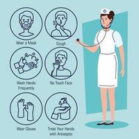 enfermeira com recomendações para parar o coronavírus
