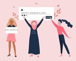 campanha do dia internacional da mulher na ilustração do conceito de mídia social. vetor