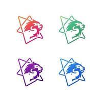 conjunto de design de logotipo do zoológico vetor
