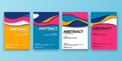 capa abstrata 3d papel arte ilustração vetorial definida. capa de fundo colorida. vetor