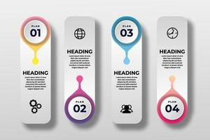 apresentação modelo de elemento de infográfico de negócios. ilustração vetorial. pode ser usado para processos, apresentações, layout, banner, gráfico de informações. vetor