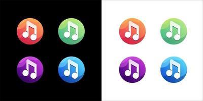 ícone da música definido em fundo branco e escuro vetor
